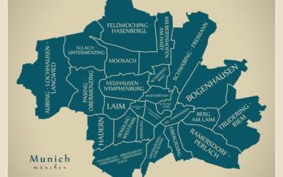 karte von münchen inklusive einzelner Stadtteile